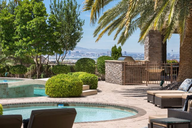 A wading pool, backyard grill with stone enclosure, palm fronds int he foreground, hedges and trees about and a daytime view of the Las Vegas strip in the background.